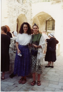 My friend Ayelet and me, August 1992, my second time with Women of the Wall.
